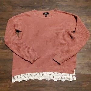 Forever 21 Oversize Knit Lace Swester